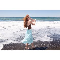 fashion editorial with Beatriz photo #pegasuspro styled by #blessthatdress #vintage #deadstock #summer #longskirt #beach #model #redhead #fashionphotography #vintageshop #deadstok