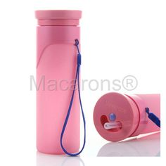 Folding Sports Water Bottle Portable bag Outdoor Pink Food-grade Rigidity ABS Cup Body And Flexible Inner Silicone Tank #5025
