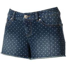 LC Lauren Conrad Polka-Dot Distressed Denim Shorts ($30) ❤ liked on Polyvore