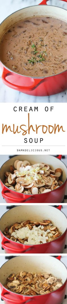 Homemade Cream of Mushroom Soup - The creamiest mushroom soup that tastes like the canned stuff but it's healthier, creamier and tastier!