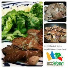 Deliciosa ensalada con orellanas asadas con un toque de aceite de olivas y finas hierbas.