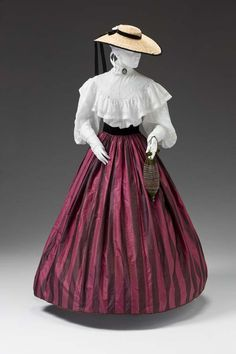 Skirt, blouse, and hat ensemble, ca. 1850-60