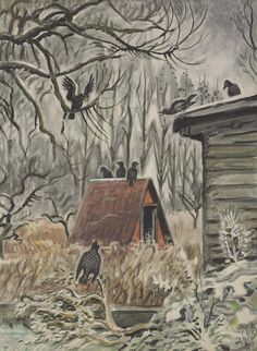 Charles Burchfield (American, 1893-1967), Crows at Twilight, 1948. Watercolor and gouache on paper laid down on board, 35 x 26 in.
