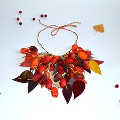 necklace silk cocoon red orange necklace. silk от batikelena
