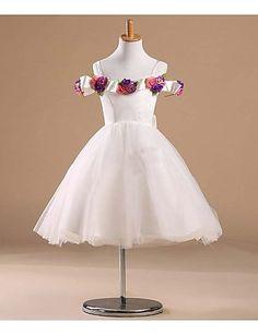 Flower Girl Dress Knee-length Satin/Tulle Princess Sleeveless Dress – USD $ 54.99