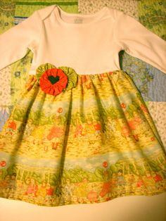 Baby dress made with onesie cotton skirt and yo yo by LocalLucy, $16.00