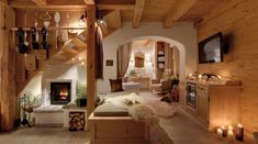 Spend your unforgettable chalet holidays in our chalet village in Bohemian Forest, Upper Austria. ➤ More about Austria chalet holidays! Chalet Design, House Design, Chalet Interior, Interior And Exterior, Deco Design, Design Case, Simply Home, Log Homes, Beautiful Homes