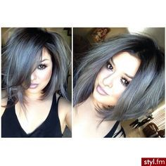 silver and gray short hair with dark tips - Google Search