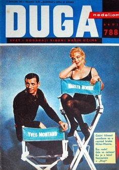 "Duga - 1961, magazine from former Yugoslavia. Front cover publicity photo of Marilyn Monroe and Yves Montand for ""Let's Make Love"", 1960."