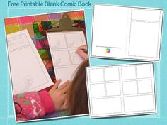 Free Printable Blank Comic Pages - Inner Child Fun My kids love creating & drawing their own comics! Blank Comic Book, Free Comic Books, Comic Page, Kids Reading, Craft Activities For Kids, Art Education, Literacy, Free Printables, Inner Child