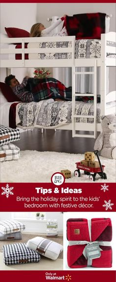 Add a touch of holiday magic to the kid's room with new Sherpa Throw Blankets from Better Homes & Gardens at Walmart. #holidaydecor #christmasdecor #kidsroomideas #cozybedroom #cozychristmas #throwblanket #sherpablanket Diy Christmas Village, Christmas Room, Cozy Christmas, Comfy Bedroom, Kids Bedroom, Creative Kids Rooms, Throw Blankets, Dream Rooms, Better Homes And Gardens