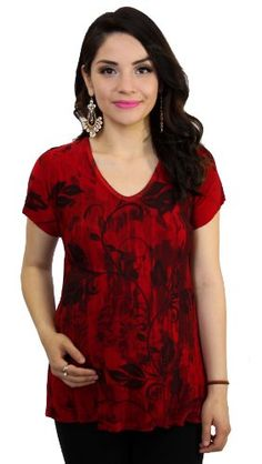 ab9b916459fd7 Red Short Sleeve Maternity Top Floral Design at Amazon Women's Clothing  store: