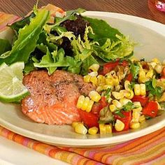 Grilled Salmon with Roasted Corn Relish Recipe | MyRecipes.com