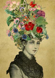 Lady Flowers Print. Vintage Collage Art Postr. by SaturnPrint