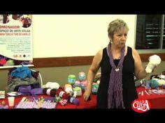 Demonstração de crochê e tricô por Vitória Quintal