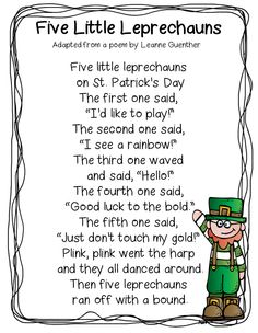 """Fingerplay / Poem, """"Five Little Leprechauns"""" (free; from First Grade Wow) St Patricks Day Songs, St Patricks Day Crafts For Kids, St Patrick's Day Crafts, March Crafts, Math Songs, Preschool Songs, Songs For Toddlers, Kids Songs, Daycare Themes"""