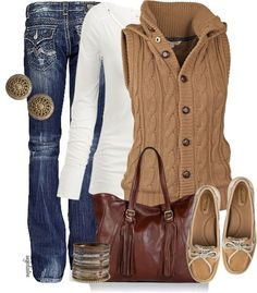 Love the vest with the white long sleeve tee underneath. The jeans makes sense except I would just wear a dark wash pair, not the ones in the pic (those look too fake-beat-up). Like the shoes and the bag is decent. What looks like earrings have go to to go, though. The essentials of the outfit I dig overall.