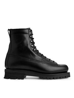 Front image of Arket leather lace up boot in black Leather Lace Up Boots, Goodyear Welt, Black Boots, All Black Sneakers, Combat Boots, Shoe Boots, Xmas, Fashion, Leather And Lace