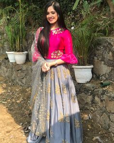 Indian outfits ideas for women are becoming a trend current 23 Lehenga Designs, Choli Designs, Indian Attire, Indian Outfits, Indian Wear, Indian Designer Outfits, Designer Dresses, Red Lehenga, Lehenga Choli