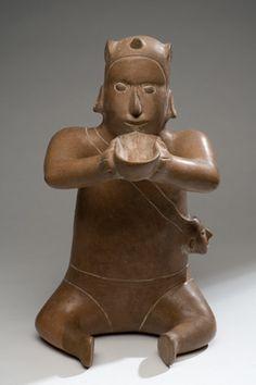 Escultura antropomorfa   Tumbas de tiro, Occidente de México   200 - 900 d. C.   Arcilla    40 x 22 x 28 cm.   Colección CONACULTA-INAH-MEX   Ubicación: Sala 1, Museo de Historia Mexicana   www.3museos.com