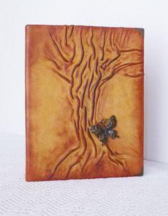 Leather Photo Album Christmas Birthday Leather Gift by AnnaKisArt#leatheralbum, #photoalbum, #handmadealbum, #leathergift, #leatherphotoalbum, #artalbum, #rusticalbum, #treealbum, #butterflyalbum