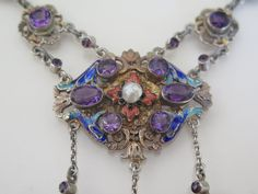 Antique Neo-Renaissance Silver Amethyst Enamel Necklace