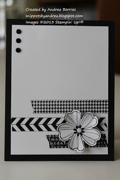 handmade card from Snippets ... black and white ... strips of simulated washi ... die cut flower ... three enamel dots ...  like the composition ...