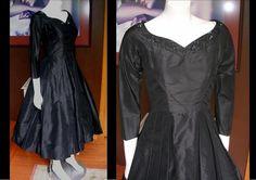 Vintage 1950s Black Taffeta Party Dress Little Black Dress LBD Beaded Neckline Sequins Pleats Rockabilly Lucy Mad Men by WestCoastVintageRSL, $118.00
