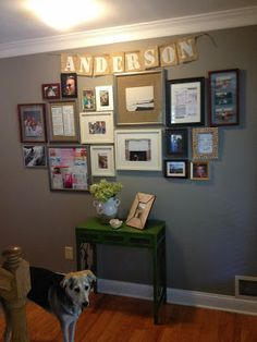 "Gallery wall with banner - Could do an ""Inspire"" banner with burlap above the sink, too!"