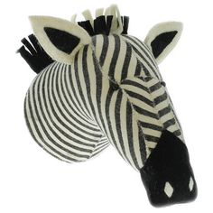 Presenting a fun, African safari-themed accent, the Fiona Walker England zebra head wall decor lends playful style to a child's bedroom, playroom, or nursery. Featuring soft wool felt, this handmade a
