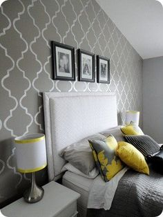 Stenciled accent Wall in Master bedroom. Gray and yellow
