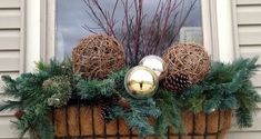 B's discussion on Hometalk. Winter Containers - Christmas/winter window box and urn ideaWanda B's discussion on Hometalk. Winter Containers - Christmas/winter window box and urn idea Christmas Window Boxes, Winter Window Boxes, Christmas Planters, Christmas Porch, Outdoor Christmas, Christmas Decorations, Holiday Decor, Xmas, Christmas Tables