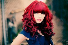 Red Hair - red, curly hair, long hair, girl, red hair, blue dress, cute, female