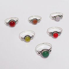 NEW CORAL & MIX GEMSTONE WHOLESALE LOT 6PCS 925 STERLING SILVER OVERLAY RINGS #VKSilvexJaipur #Ring