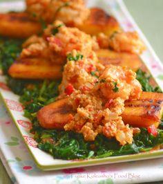 Funke Koleosho's Food Blog: Egusi, Plantain & Prawns Platter