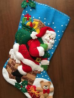 This is a finished handcrafted 18 Bucilla felt Christmas stocking. It is all hand stitched, applique Felt Christmas Stockings, Christmas Stocking Pattern, Felt Stocking, Felt Christmas Decorations, Stocking Tree, Christmas Wood, Handmade Decorations, Christmas Crafts, Christmas Ornaments