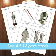 Montessori Knights and castles 3 part cards