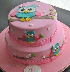 temas para mesversario - Corujinha Owl Cake Birthday, Owl Birthday Parties, Fondant Cakes, Cupcake Cakes, Rodjendanske Torte, Ladybug Cakes, Owl Cupcakes, Baby Girl Cakes, Gateaux Cake
