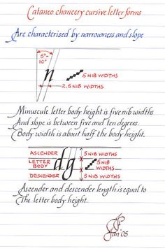 Chancery cursive (Italic) writing -- letterform characteristics and construction