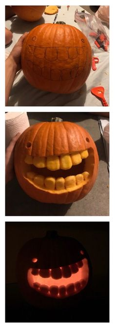 Wanted to make the goofiest looking pumpkin I could. I think I did alright funny pictures Funny Pumpkin Carvings, Scary Pumpkin Carving, Amazing Pumpkin Carving, Funny Pumpkins, Halloween Pumpkins, Fall Halloween, Halloween Stuff, Halloween Ideas, Halloween Cards