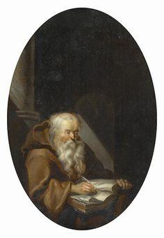 Omgeving Gerrit Dou: Oude monnik schrijvend in een manuscript. Laatste helft 17e eeuw. Bonhams, Londen.