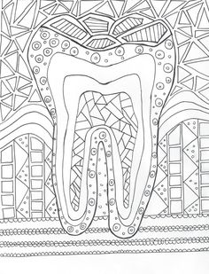 a dental coloring page to destress after work or practice your indirect vision by coloring