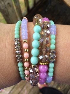 Set of 5 fun stack bracelets Great for spring. by maeleeroos