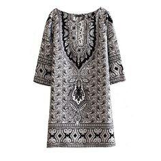 4eae8c78b3c5 Tonsee Women Retro Bohemian Totem Floral Print Slim Dress L   Click on the  image for