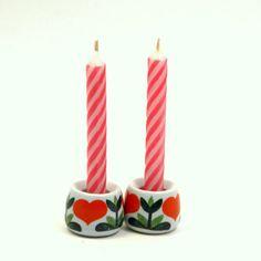 Vintage 1980s Funny Design Heart Candle Holders, $15 from BlissAndVinegar…