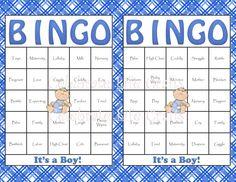 60 Baby Bingo Cards - Baby Shower Bingo Game Printable for Baby Boy INSTANT DOWNLOAD via Etsy