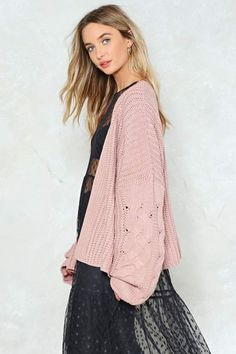 e2ae783933 Nasty Gal Watch Knit Oversized Cardigan Pay attention. The Watch Knit  Cardigan comes in a