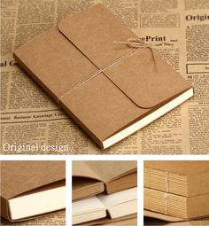 2013  vintage kraft cover paper  A4 A5 blank  doodle / notebook NT001 $13.99