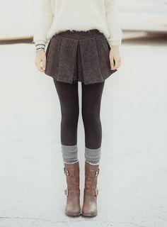 Mini skirt leggings with long boots