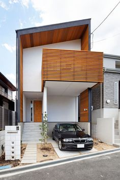 House / layout using solid wooden materials (Toyonaka City, Osaka) Architecture Design, Residential Architecture, Japanese Architecture, Tiny House Design, Modern House Design, Building Design, Building A House, Townhouse Designs, Narrow House